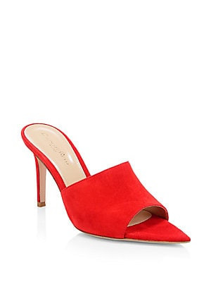 Gianvito Rossi Suede Point Toe Mules Open Toe