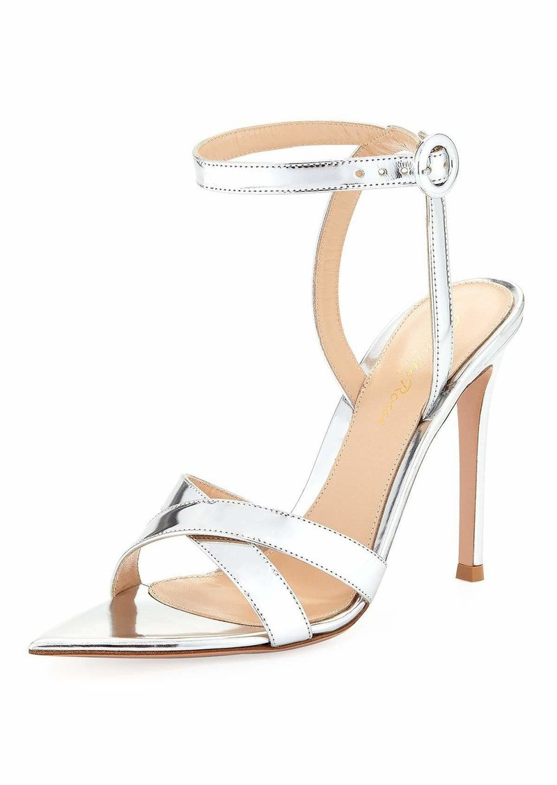 Gianvito Rossi Metallic Silver Point Toe Stiletto Sandal