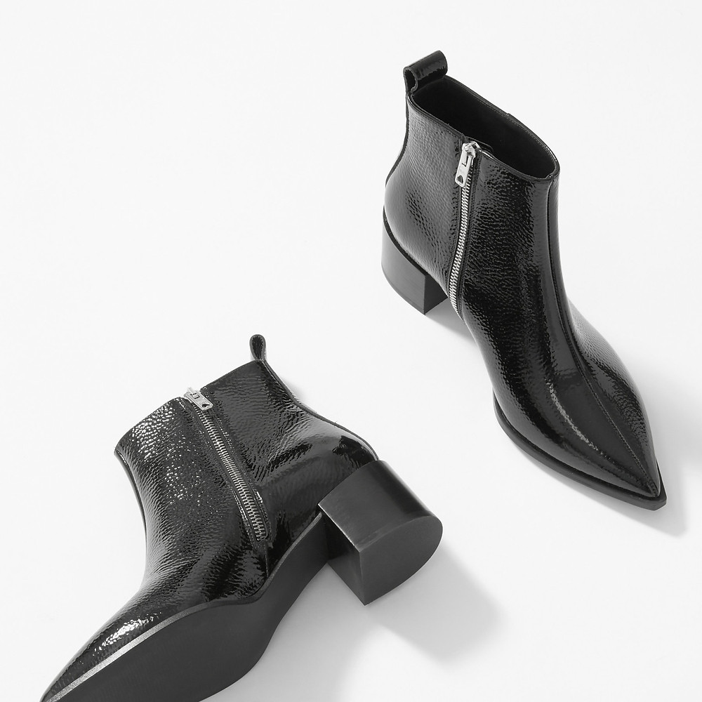 Everlane Boss Boot in Black Patent Point Toe