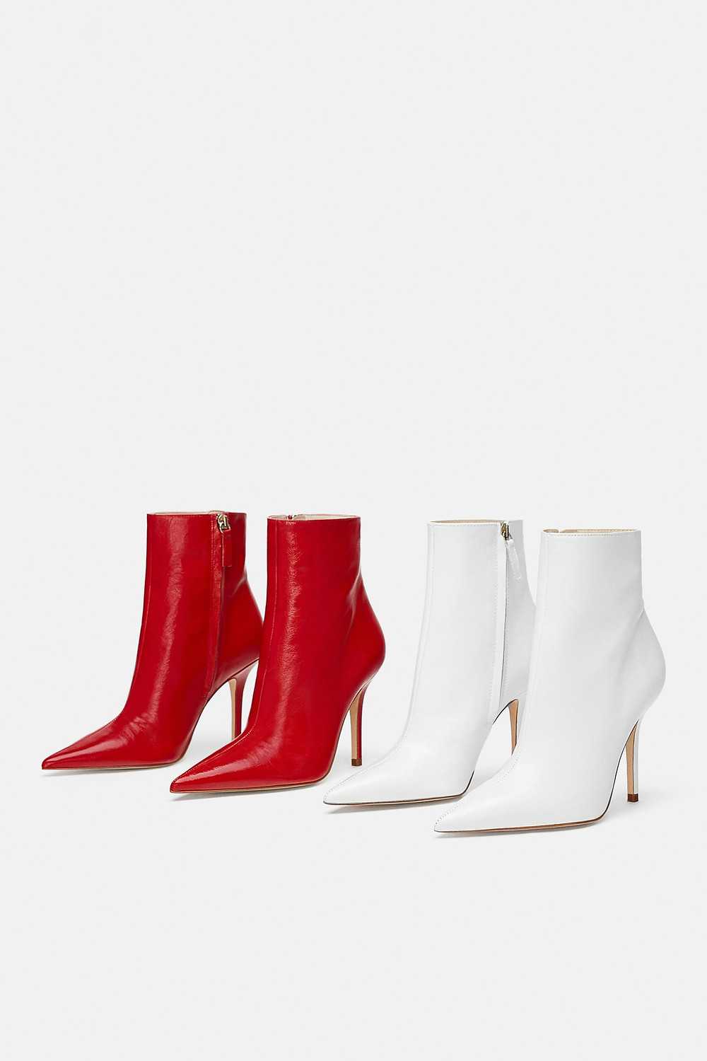Zara Leather Stiletto Heeled Ankle Boots Red White