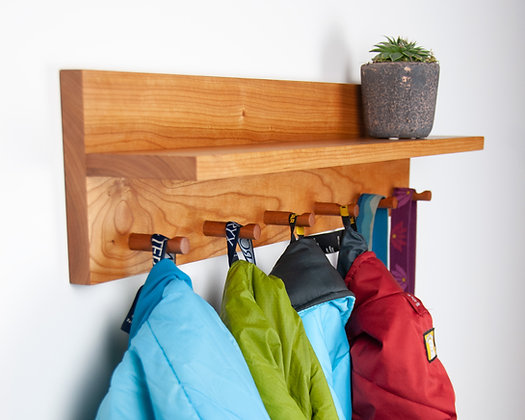 Cherry Coat Rack & Shelf