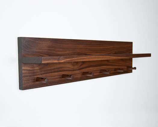 Walnut Coat Rack & Shelf