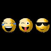 3 cool and smiling emojis