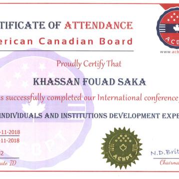 Certificate of Attendance American Canadian Board