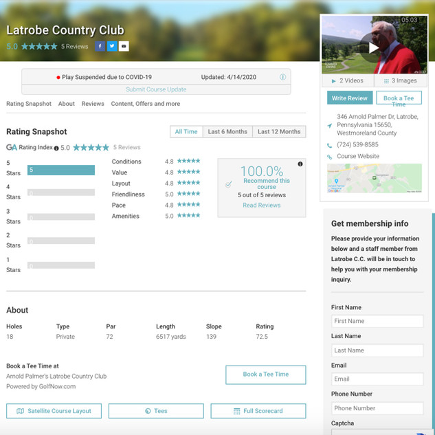 Lead form found and Golf Advisor ratings and reviews page