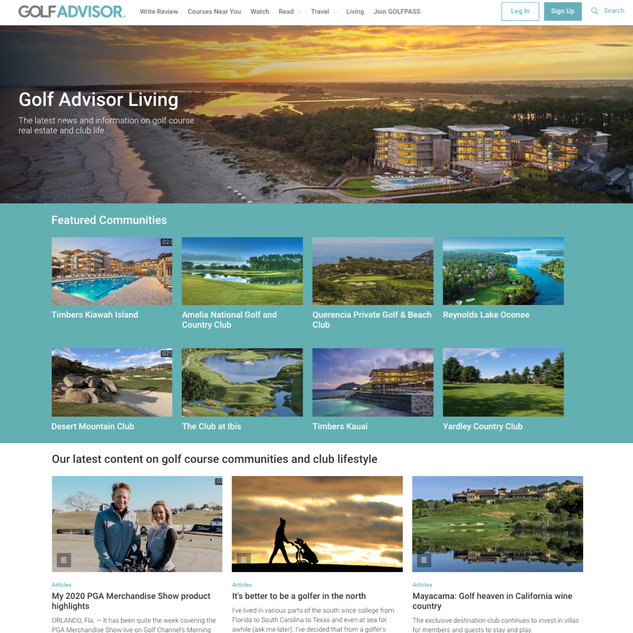 Golf Advisor living with club thumbnails