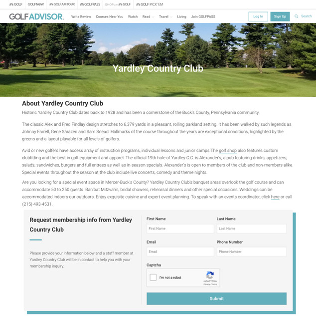 Private club brand page at Golf Advisor