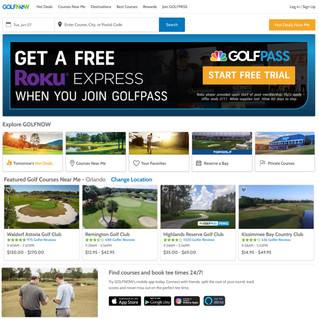 GolfNow homepage with private clubs call-out