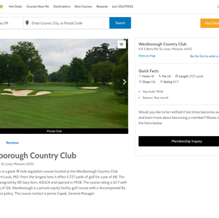 Westborough country club details page on GolfNow.com