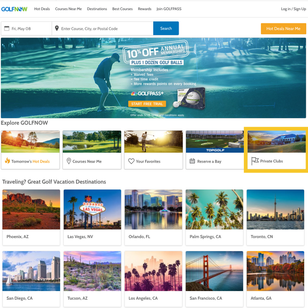 Private clubs on GolfNow homepage
