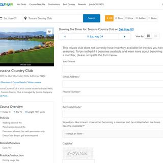 Toscana membership lead form on GolfNow.com