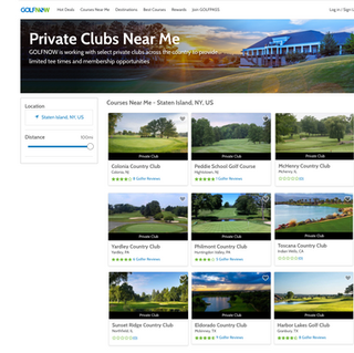 Private clubs landing page on GolfNow