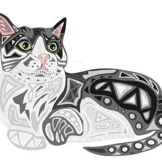 Sarah Hiers Design Gray and White Cat Drawing