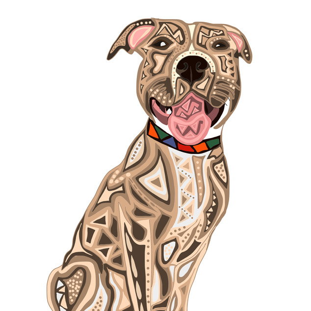 Sarah Hiers Design Tan Pitbull SmilingDrawing