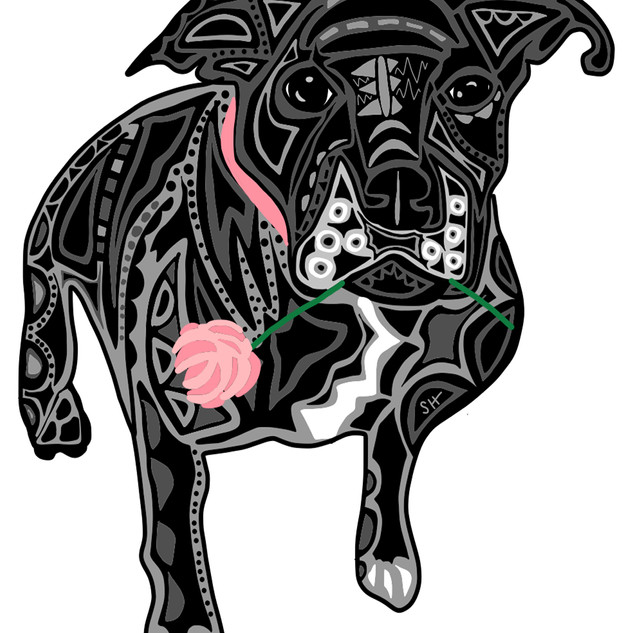 Sarah Hiers Design Black Pitbull Mix Drawing