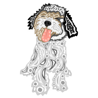 Sarah Hiers Design Fluffy Dog Drawing