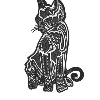 Sarah Hiers Design Custom Pet Portrait Black Cat Drawing
