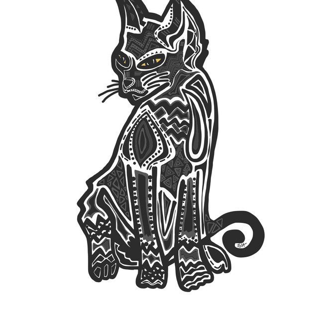 Sarah Hiers Design Custom Pet Portrait Black Cat Drawing