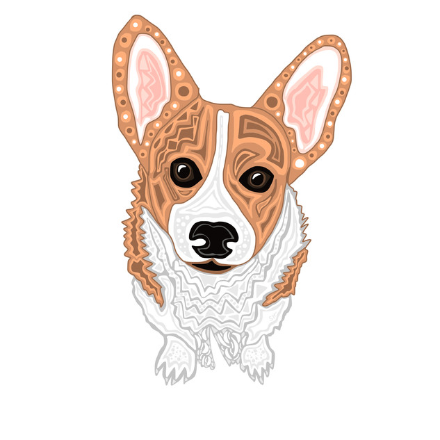 Sarah Hiers Design Custom Pet Portrait Corgi Drawing