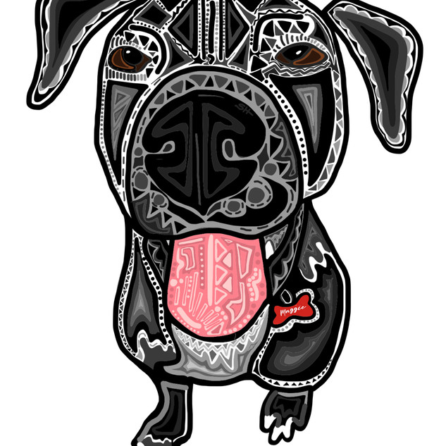 Sarah Hiers Design Black Lab Mix Custom Pet Portrait