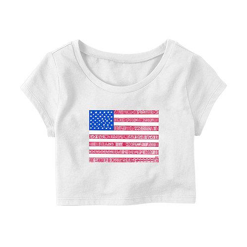 American Flag Crop T-shirt
