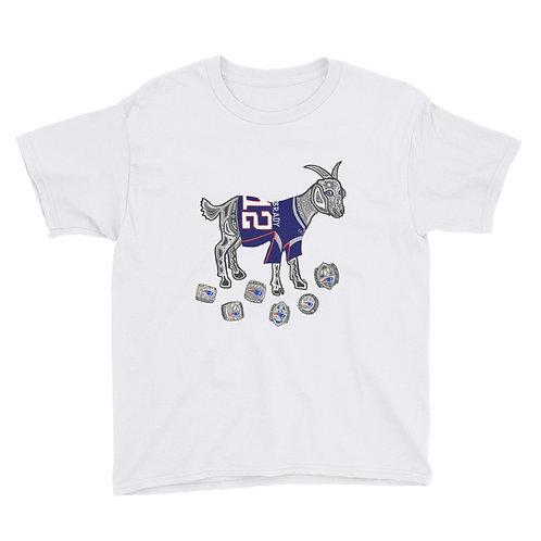 Youth Tom Brady GOAT Superbowl Rings  T-shirt