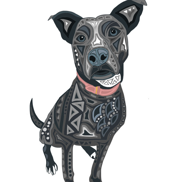 Sarah Hiers Design Gray Pitbull Drawing