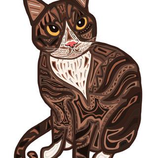 Sarah Hiers Design Brown Cat Drawing