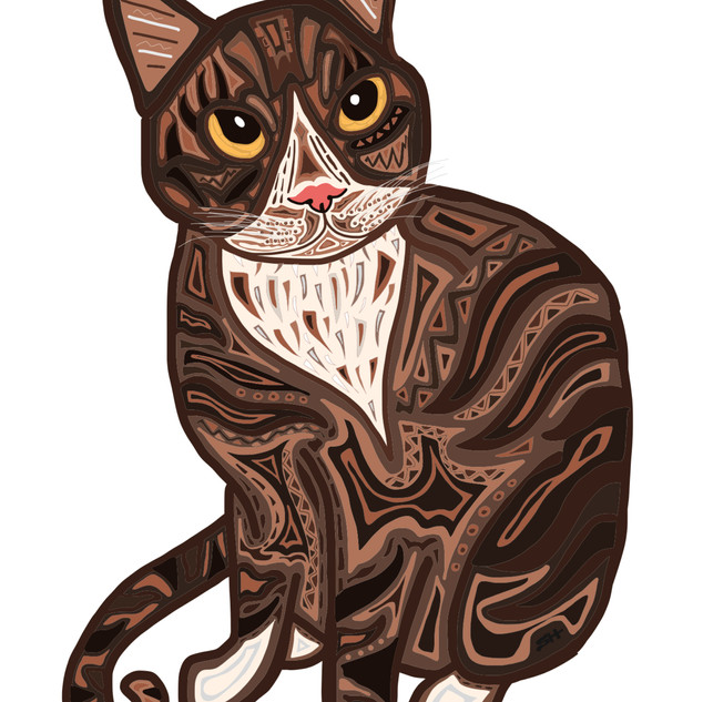 Sarah Hiers Design Brown Cat Drawing