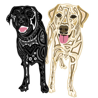 Sarah Hiers Design Yellow and Black Lab Drawing