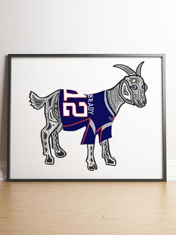Sarah Hiers Design Tom Brady Goat Art