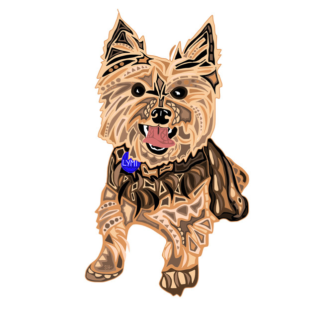 Sarah Hiers Design Brown Yorkie Drawing