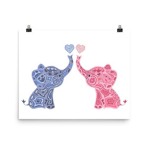 Blue and Pink Elephants Twin Nursery Art