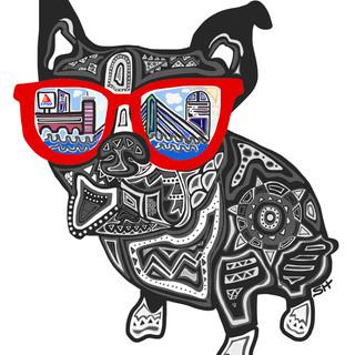 Sarah Hiers Design Boston Terrier Custom Pet Portrait Drawing