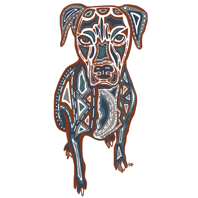 Sarah Hiers Design Colorful Pitbull Mix