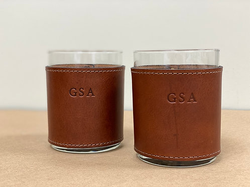Monogrammed Leather Wrapped Whiskey Glasses