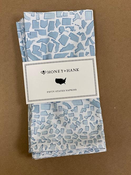 Honey+Hank 50 States Light Blue Napkins