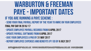 Important Dates - PAYE Schemes