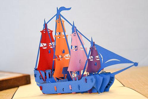 Multi-Colored Sailing Ship