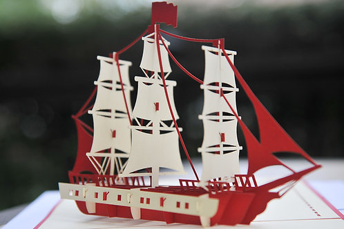 Red Three Masted Sailing Ship