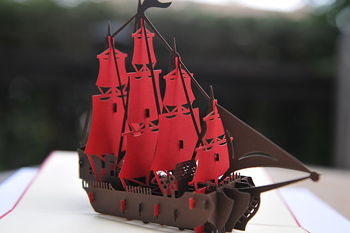 Four Masted Brown Sailing Ship