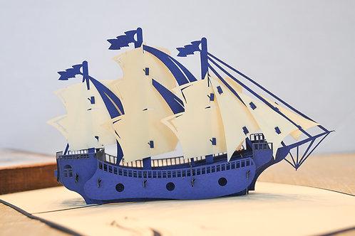 Blue and White Sailing Ship