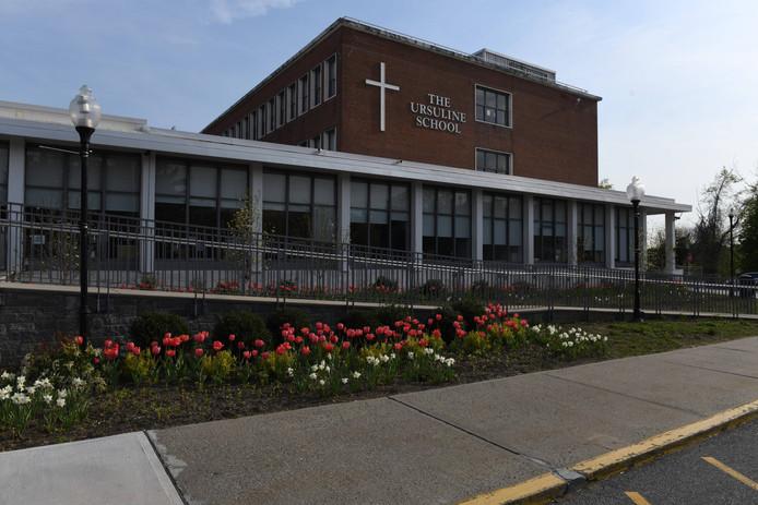 Tulips adorn the front facade