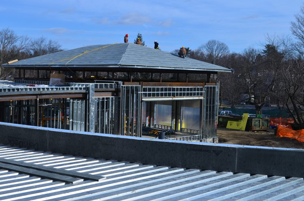 A view of the lobby roof installed