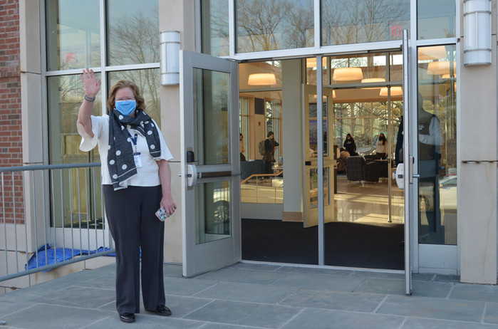 Principal Beirne welcomes all through the new lobby doors