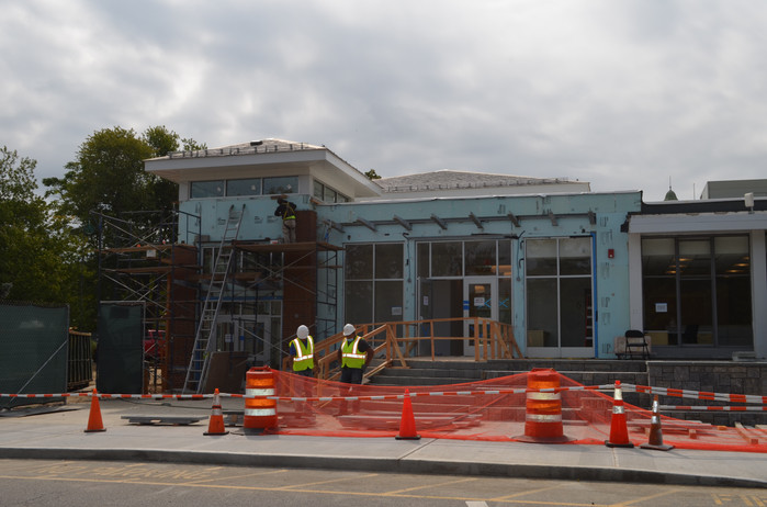Work continues on the exterior
