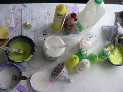 Paint mixes are made and tested