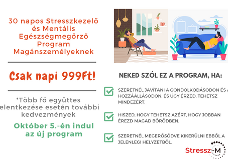Magánszemélyeknek: Jelentkezz a 30 Napos Stresszkezelő és Mentális Egészségmegőrző Programunkra