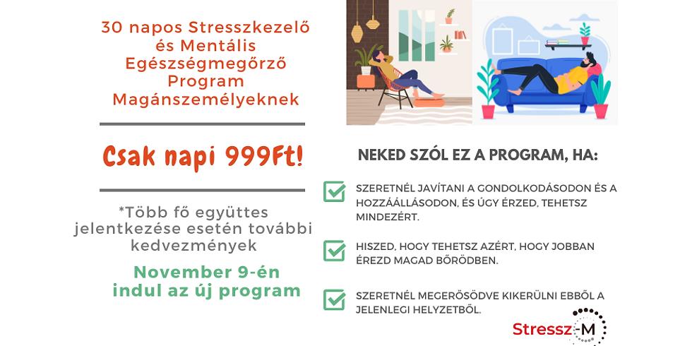 30 Napos Stresszkezelő és Mentális Egészségmegőrző Program Magánszemélyeknek - November