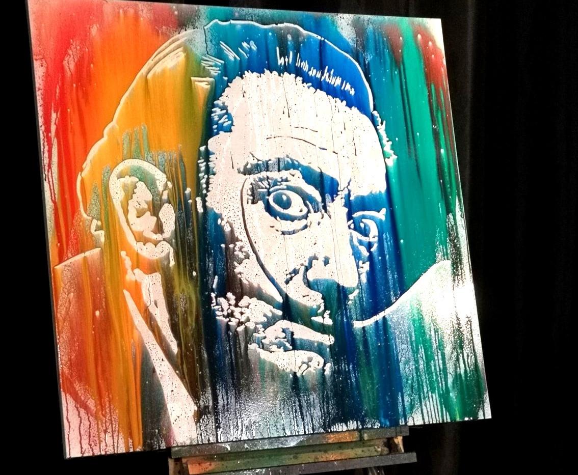 Commande particulier: Salvador Dali réalisé en 3 minutes pour le live 100% talent (format 100/100cm)